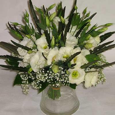 בוקט לבן נמוך 01 - פרחי אוריינטל - אור יהודה
