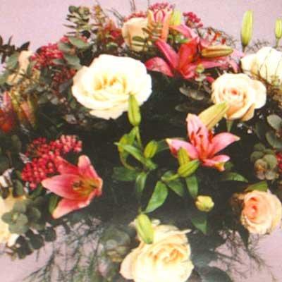 זר בגוונים ורודים 15 - פרחי אוריינטל - אור יהודה
