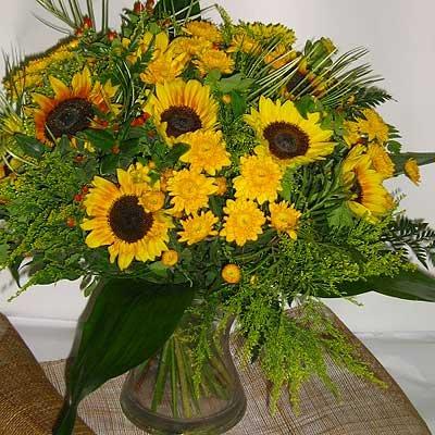 זר חמניות צהוב 11 - פרחי אוריינטל - אור יהודה