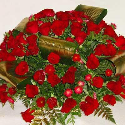 זר אדום זהב 21 - פרחי אוריינטל - אור יהודה