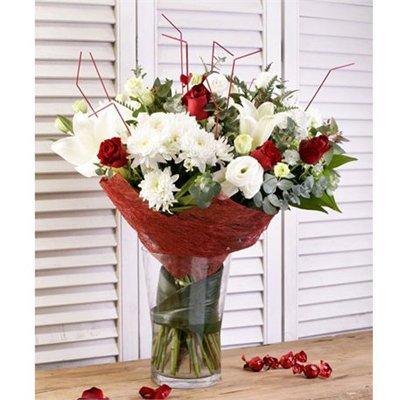 זר גבוה מעורב לבן ואדום - בר פרחים וכלים - אשקלון