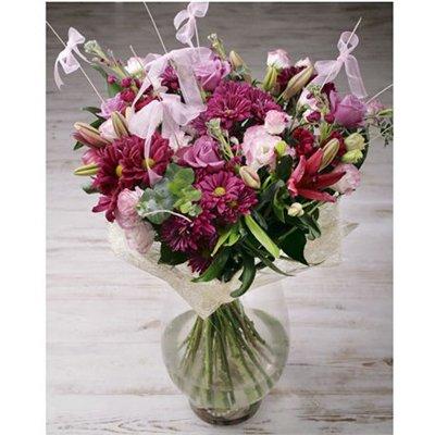 זר גבוה מעורב סגול ורוד - בר פרחים וכלים - אשקלון