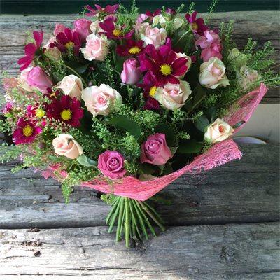 זר ורדים ורודים - בוקטו - גדרה