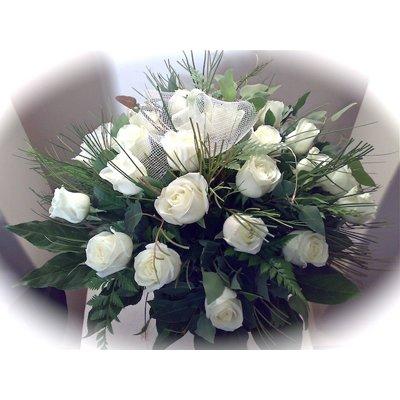 זר ורדים לבנים - אורכידאה פרחים - חדרה