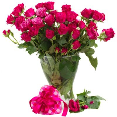 זר ורדים עם אגרטל - פרחי ויולט - אריאל