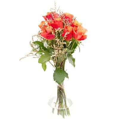זר ורדים עם רשת כתומה - פרחי ויולט - אריאל