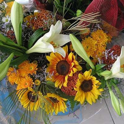 זר חמניות בשילוב שושן צחור - פרחי ויולט - אריאל
