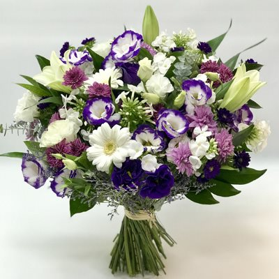 זר לבן סגול - אורכידאה פרחים - חדרה