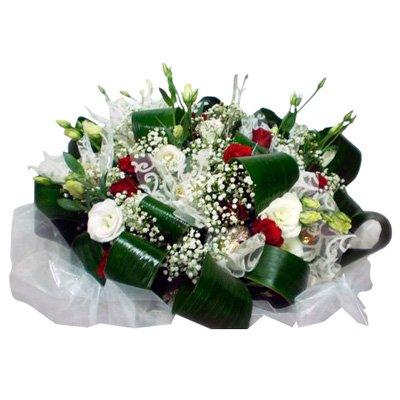 411 זר ורדים אדום לבן - הפינה הירוקה - בית שמש