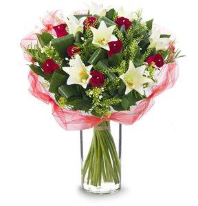 אדום לבן רומנטי - פרחי עירית - פתח תקווה