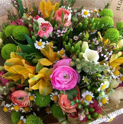זר חורפי שמח - בשביל הפרחים - תל אביב