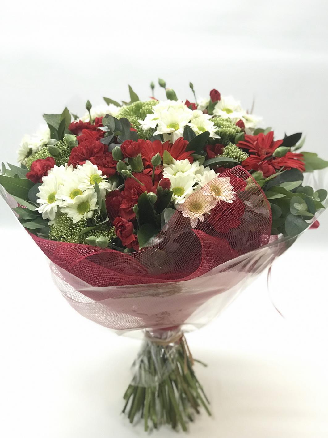 זר אדום לבן - אורכידאה פרחים - חדרה