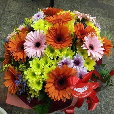 זר גרברות חרציות - פרח באהבה - אילת