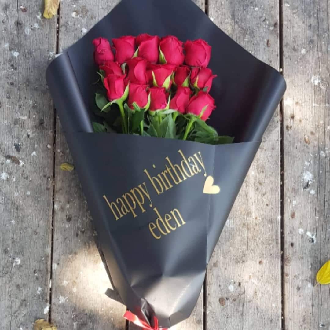 זר ורדים עם הקדשה  (13) - פרחי טוליפ - בת ים