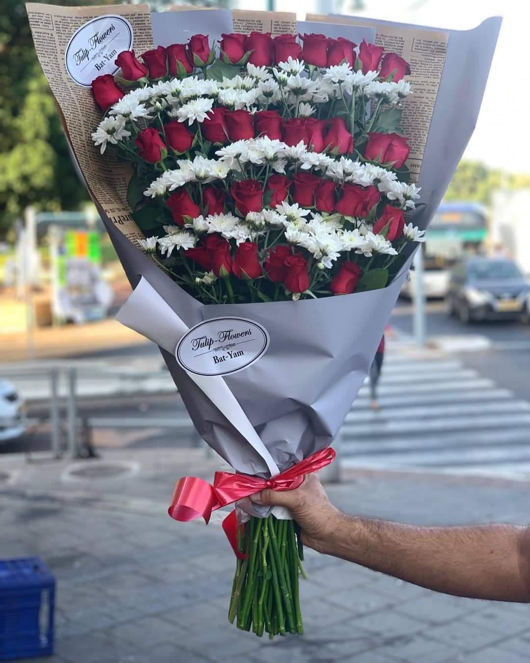 ורדים וחרציות ענק (20)  - פרחי טוליפ - בת ים