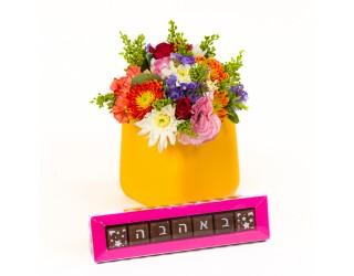 בוביק בכלי ושוקולד - פרחים רמת החייל TLV - תל אביב