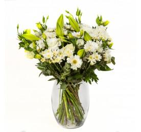 זר פרחים לבן - פרחים רמת החייל TLV - תל אביב