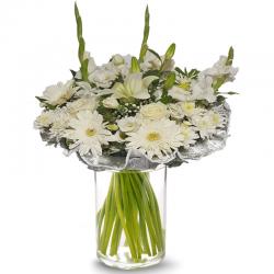 זר לבן וחגיגי - פרחי לב הגליל - טבריה