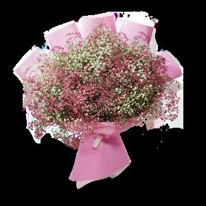 זר גיבסנית ורוד לבן - פרחי לב הגליל - טבריה