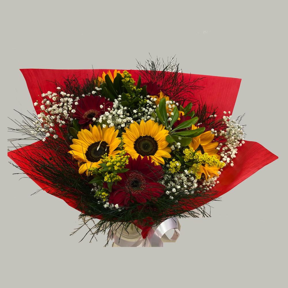 זר חמניות וגרברות  - פרחי ויולט - אריאל