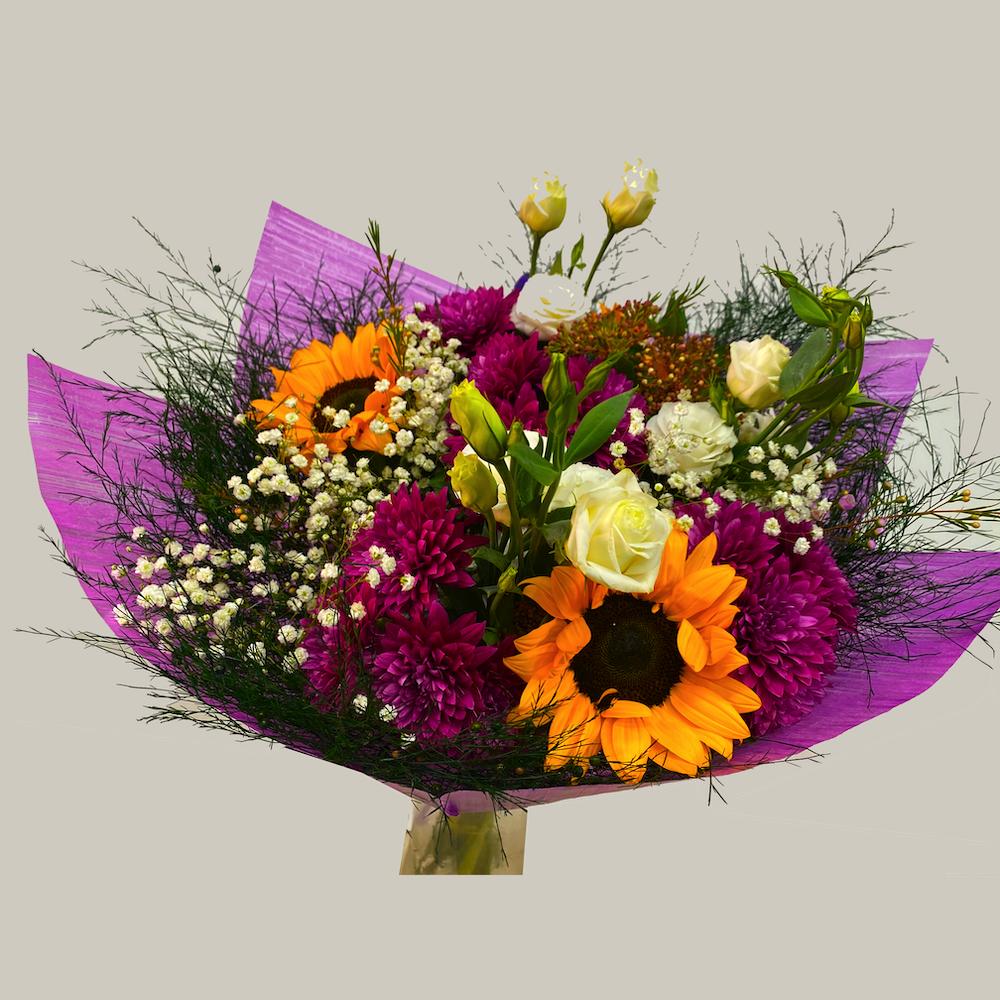 זר חמניות וליליות   - פרחי ויולט - אריאל
