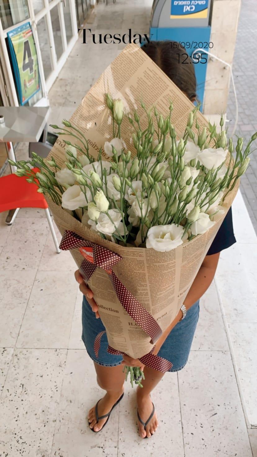 ליזי לבן בנייר עיתון - פרח באהבה - אילת