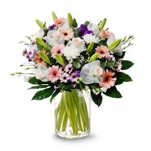 זר סגול לבן  - פרחי לב הגליל - טבריה