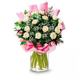 זר ורדים לבנים עטיפה מיוחדת  - פרחי לב הגליל - טבריה